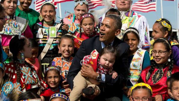 The Obamas visit the Standing Rock Sioux Reservation last summer.