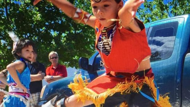 Valentino Tzigiwhaeno Rivera could dance before he could walk. By the time he was 6, he had performed in European capitals and had competed in the World Hoop Dance Competition in Arizona. He is seen here hoop dancing when he was just 6.