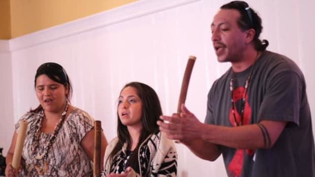 """A trio of Ohlone singers provide a welcoming to their homeland for those who attended the January 24 """"Gold, Greed and Genocide"""" event in San Francisco to raise awareness about the past and continued effects of the Gold Rush era on California Indians."""