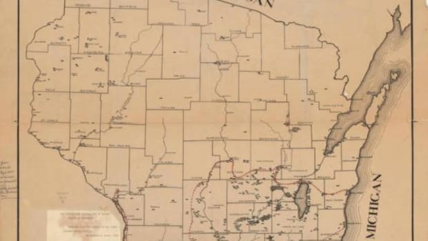 Charles E. Brown, Map showing the distribution of Indian mounds in Wisconsin, 1916.