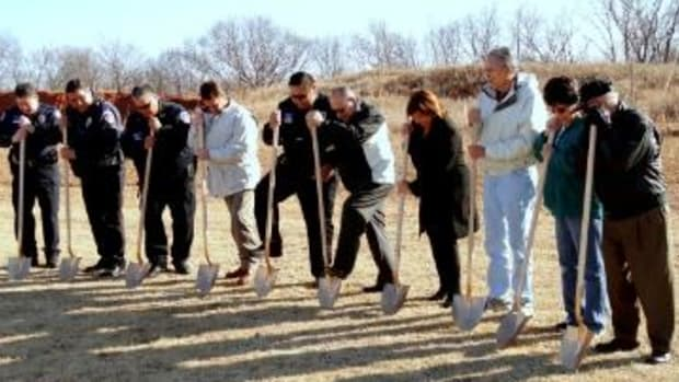 Pawnee Business Council Members and Law enforcement Officers Break Ground for New Law Enforcement Center on December 16.