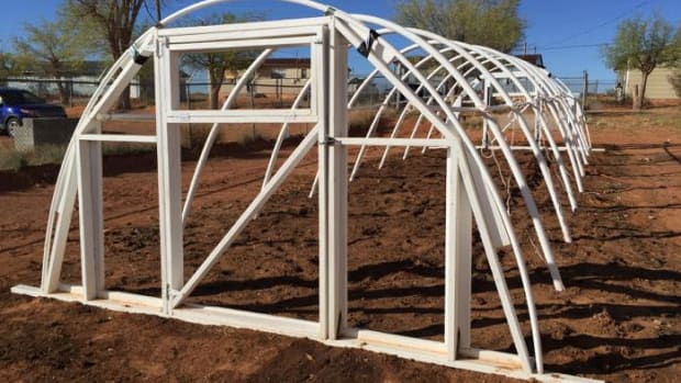 The assembled hoop house frame is seen here ready to be covered on the Navajo Nation.