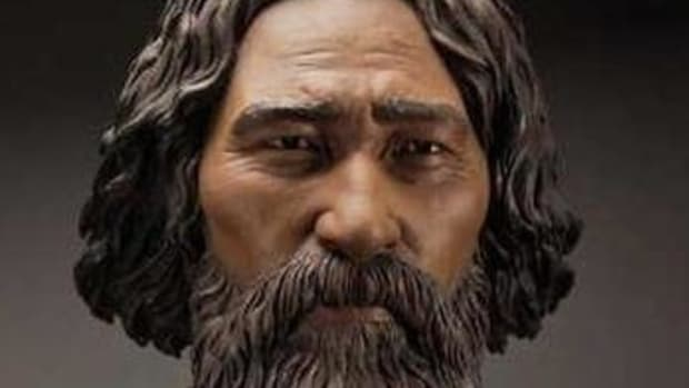 A clay facial reconstruction of the Ancient One shows what he many have looked like.