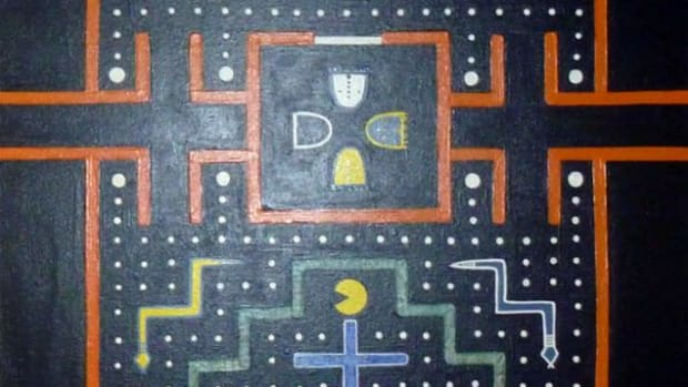 """A detail from """"Traditional Gaming"""" by Ehren Natay."""
