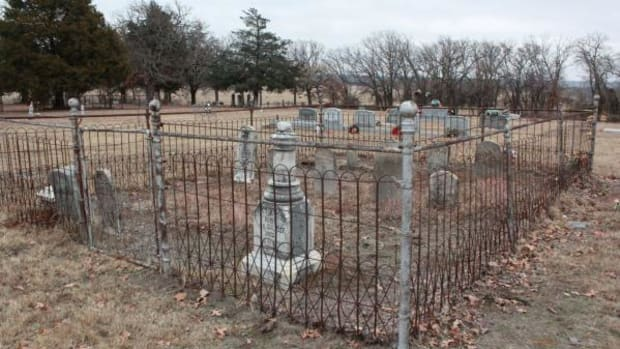 The family burial plot of Gov. Cyrus Harris at Drake Cemetery in Murray County. Gov. Harris' tombstone is in the first row on the right of the burial plot.