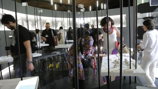 Visitors check out 'Arctic Adaptations: Nunavut at 15' at the 14th International Venice Biennale of Architecture.