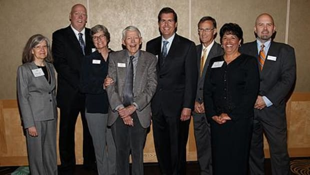 The endowment was announced September 21 at a Seattle event marking Diane Johnson's retirement from the Board and honoring Diane and Ted Johnsons' service to the Foundation. Among those attending were (from left): Academic Vice President Patricia O'Connell Killen; School of Business Interim Dean Ken Anderson; Diane and Ted Johnson; President Thayne McCulloh; Bud Barnes, former business dean; Stacey Chatman, assistant director of graduate admission; and Christopher Stevens, director of MBA Programs.