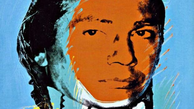 A portrait of Russell Means done by Andy Warhol for his American Indians series in 1976. (Image source: it.phaidon.com)