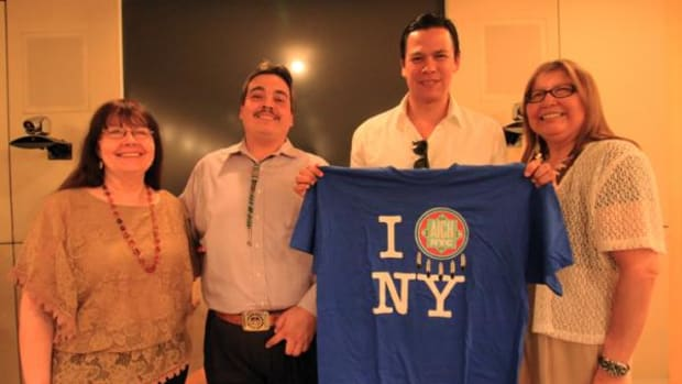 Chaske Spencer, second from right, who loves New York, with members of NYC's American Indian Community House.