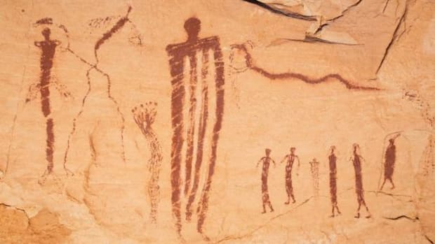 These paintings, attributed to the Barrier Canyon Tradition, were conceived well over 3,000 years ago. They were permanently damaged and defaced in 2009.