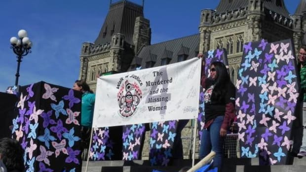 Hundreds of people turned out for the Walk4Justice rally on the steps of Parliament September 19. Artist Gloria LaRoch designed the mock coffins representing those lost and decorated with butterflies representing each of the missing and murdered women.