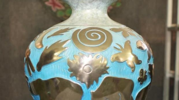 Bronze, Water, Earth, Sky vase by Pahponee (Kickapoo/Potawatomi) at the Autry's American Indian Arts Marketplace