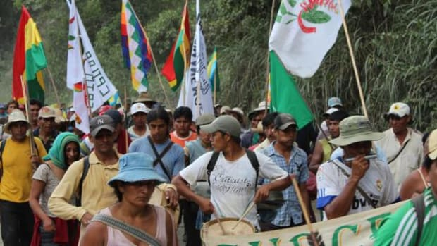 Marchers protesting a highway that would cut through the National Park and Indigenous Territory Isiboro Secure near the city of La Paz in October, 2011.