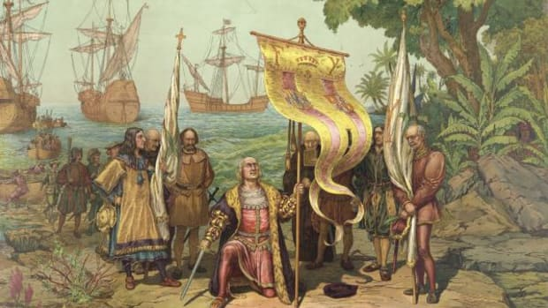 A depiction of Christopher Columbus and his men claiming the Bahamas in the name of King and Queen of Spain.