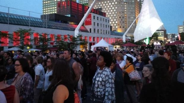 Hundreds of people packed the Place des Festivals to see Algonquin rap sensation Samian at the Montreal First Peoples Festival on July 31.