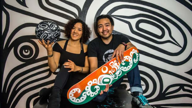 Tlingit artists and siblings Rico and Crystal Worl co-founded Trickster Company last summer and feature their work as well as productions by other emerging artists.