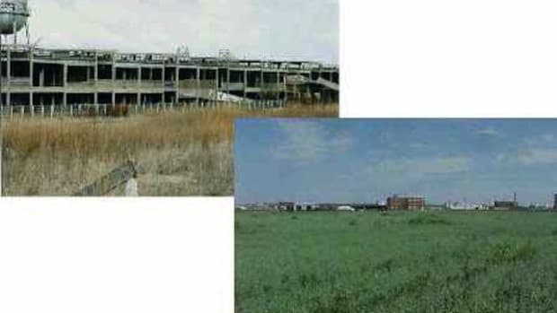 Example of a before-and-after of the EPA's Brownfields Initiative, in Iowa.