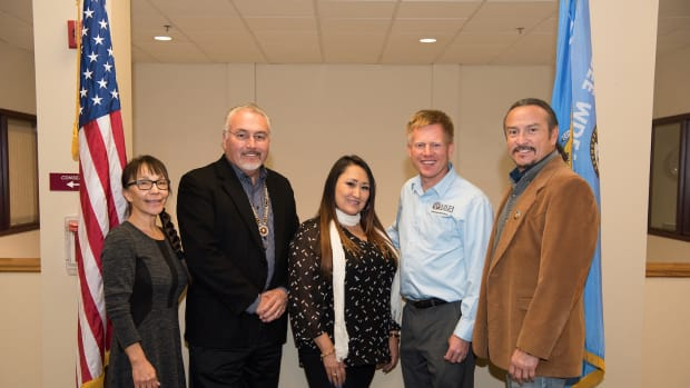 From left to right, Seeds of Native Health Chair Lori Watso, SMSC Chairman Charles R. Vig, SMSC Secretary/Treasurer Freedom Brewer, AmeriCorps VISTA Director Max Finberg, and SMSC Vice-Chairman Keith B. Anderson.