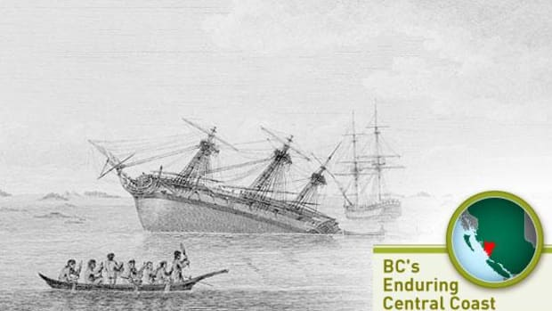 Captain George Vancouver's ship Discovery ran aground in Queen Charlotte Strait in August 1792. Artist unknown, from Vancouver: A Voyage of Discovery to the North Pacific Ocean, and Round the World, 1801 edition.
