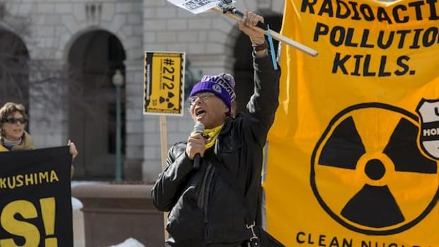 Other tribes are affected by the problem of abandoned uranium mines as well. Harold One Feather of the Standing Rock Sioux, in this file photo from February, participates in the Clean Up the Mines protest outside of the EPA.