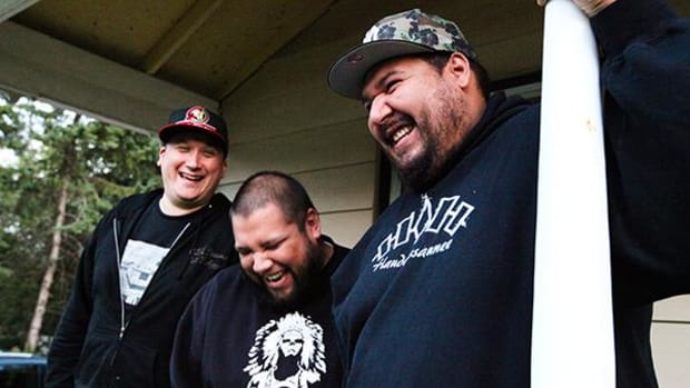 A Tribe Called Red, from left: DJ NDN, DJ Shub, and Bear Witness.
