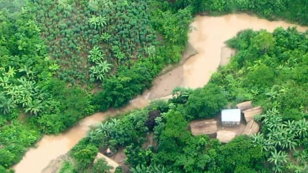 Illegal logging settlement inside the Murunahua Reserve for uncontacted tribes, south-east Peru.