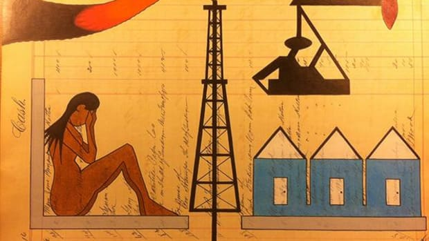 """""""Girl Lost in Man Camp,"""" a painting by renowned ledger artist John Pepion, depicts life in the Bakken."""