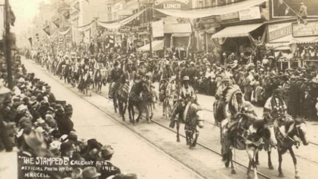 First Nations leading the Calgary Stampede parade in 1912, the first year of its existence.