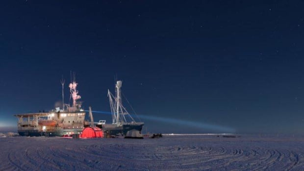 A Norwegian research vessel frozen into the Arctic sea ice to gather data in 2015.