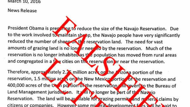 Several false pieces of literature were posted around the Navajo Nation that spread misinformation about the requested national monument status for Bears Ears, a site held sacred by numerous tribes.