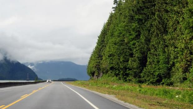 Photo of BC Highway 16, heading towards Prince Rupert from Terrace.
