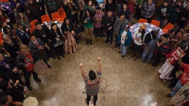 Renee Roman Nose addresses the crowd during a celebration marking Indigenous Peoples Day at the Daybreak Star Cultural Center on October 13, 2014 in Seattle, Washington. Earlier that afternoon, Seattle Mayor Ed Murray signed a resolution designating the second Monday in October to be Indigenous Peoples Day.