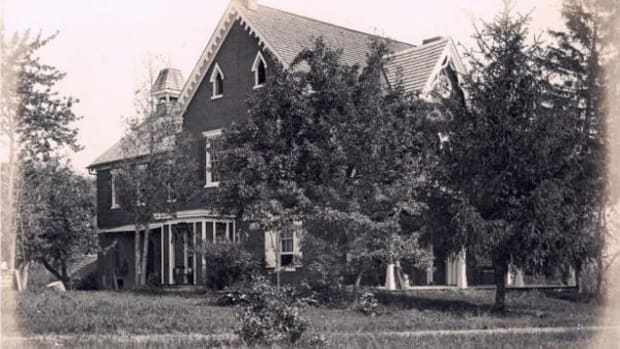 This historic photos shows the original farmhouse at the Carlisle Indian Industrial School in Carlisle, Pennsylvania. The house has been saved from demolition and efforts are underway to make it a center where families could go to learn about their ancestors who attended the school and never came home. (Photo courtesy of Carlisle Digital Resource Center)