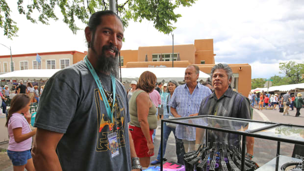 Pat Pruitt, a Laguna Pueblo artisan who has studied mechanical engineering, won Best of Show for his sculptural piece, Sentinel 1.0