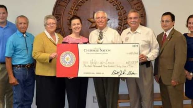 The Cherokee Nation recently donated $80,000 to six domestic violence shelters. Pictured, from left, are Help-In-Crisis Vice Chairman Mike Skinner, Cherokee Nation Tribal Councilor Curtis Snell, Tribal Council Speaker Tina Glory-Jordan, Help-In-Crisis Executive Director Margret Cook, Principal Chief Bill John Baker, Deputy Chief S. Joe Crittenden, Secretary of State Chuck Hoskin Jr. and Treasurer Lacey Horn.