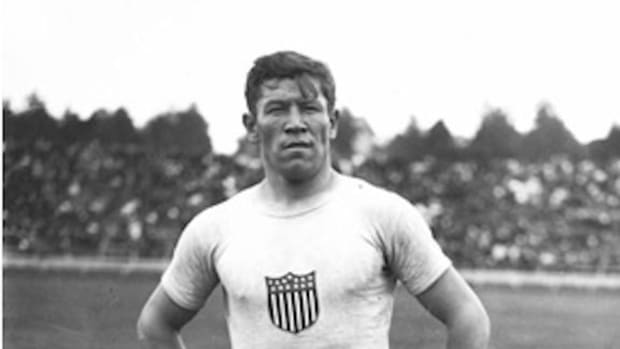Jim Thorpe at the 1912 Summer Olympics in Stockholm, Sweden.