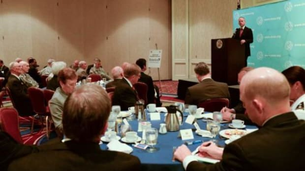 Army Under Secretary Brad R. Carson delivers the keynote address during the Association of the U.S. Army's monthly breakfast June 26, 2014. Carson, the 31st Army under secretary, was appointed to his position on March 27, 2014.