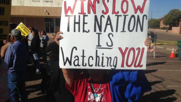 More than 350 community and family members gathered in front of the Winslow Police Department to demand justice for 27-year-old Navajo mother, Loreal Tsingine, who was brutally shot five times and killed by Winslow police last Easter Sunday.