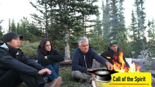 Dechinta students, elders, faculty, and staff have campfire discussions each evening. L-R: Dechinta student Tee Lim; Leanne Simpson, independent scholar; Glen Coulthard, UBC and Dechinta professor; and Eugene Boulanger, Dechinta's director of strategic partnerships and planning.
