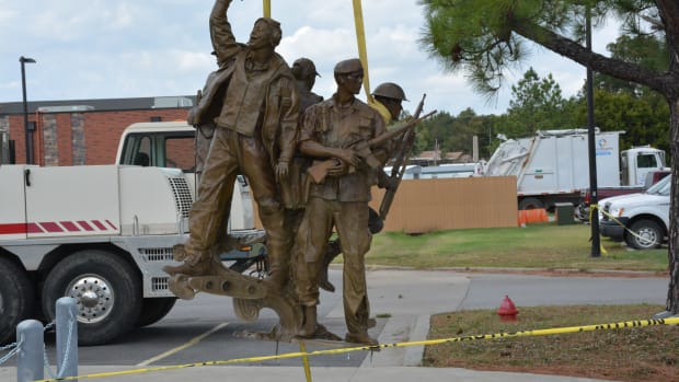 Daniel HorseChief, Cherokee and a veteran, created this statue that is being unveiled today on Veteran's Day.