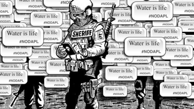 NODAPL: The Protest Is Just Beginning; Cartoon by Marty Two Bulls