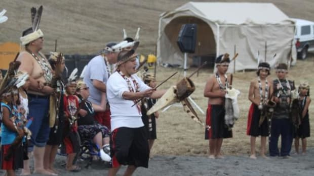 Wiyot dancers during a ceremony to restore the Eel River on September 10