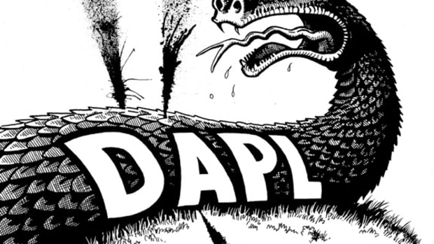 DAPL LEAKS; Cartoon by Marty Two Bulls
