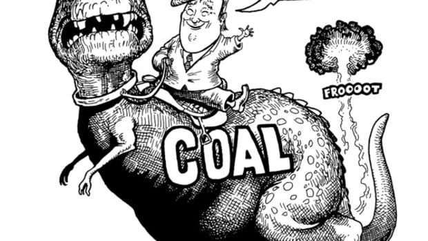 Coal Mining the Obsolete Industry; cartoon by Marty Two Bulls