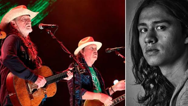 Willie Nelson and Neil Young, shown here performing at Farm Aid 2012 in Hershey, Pennsylvania, will be joined by Lakota rapper Frank Waln on Saturday at a concert protesting the Keystone XL pipeline. (Rex Features via AP Images; courtesy Frank Waln)