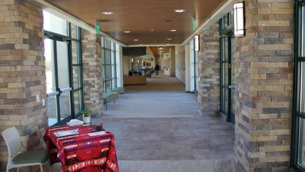 The lobby of the new Toiyabe Health Clinic, serving seven tribes in California.