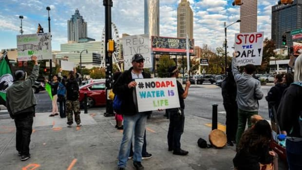 Protesters rallied outside CNN headquarters in Atlanta recently to demand better media coverage of the Dakota Access Pipeline and the water protectors.