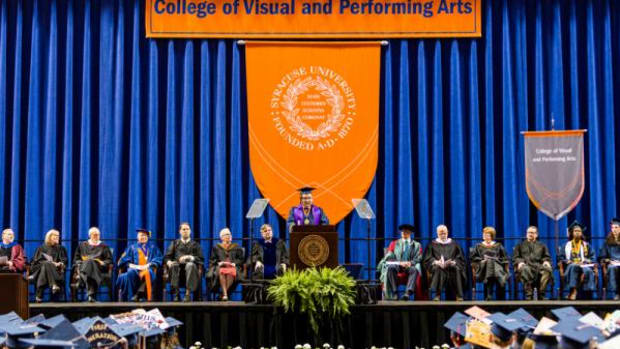 Seneca Wolf Clan filmmaker Terry Jones, a Haudenosaunee Promise Scholar, Udall Scholar and Benjamin A. Gilman International Scholarship recipient was the Syracuse graduation commencement speaker Friday at the Syracuse University College of Visual and Performing Arts.