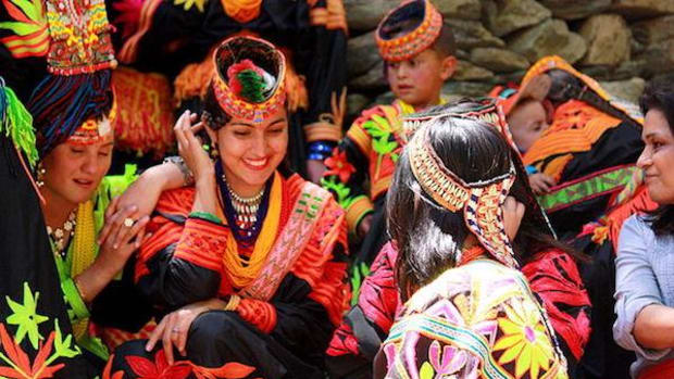 Kalash women in Pakistan's remote mountains. The Kalash people's way of life is under threat from climate change.