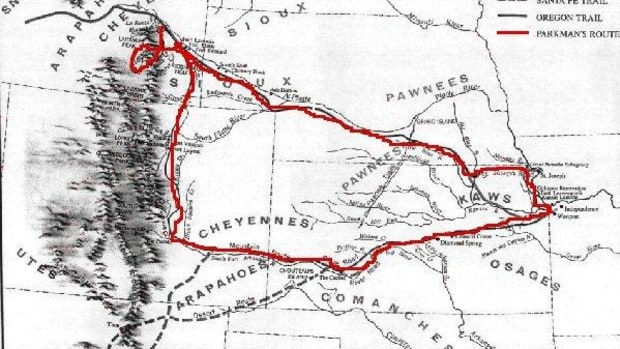 The route of Francis Parkman's sojourns from Westport, Missouri up the Platte River to Fort Laramie (in today's Wyoming), the Pueblo (now Pueblo, Colorado), Bent's Fort (near present-day La Junta, Colorado), and back.
